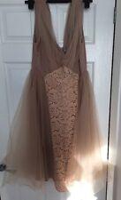 Asos Wedding Mesh And Lace Insert Midi Prom Dress Blush Size 16