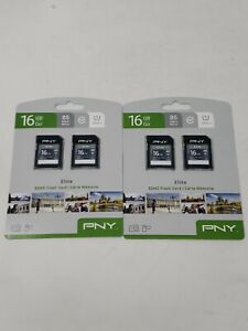 Lot of 4 PNY 16GB Elite SDHC Flash Memory Cards 85 MB/s TWO 2 Packs NEW