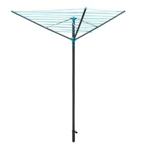 JVL Compact and Robust 30 Metre 3 Arm Steel Rotary Clothes Airer, Teal/Grey