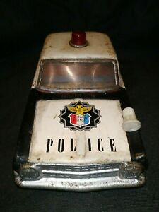 Vintage Highway Police Dept Friction Tinplate toy Car Japan C1960's Collectible