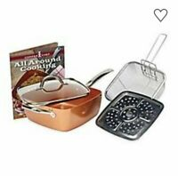 New Copper Chef 12 Inch Round Frying Pan W Lid Skillet