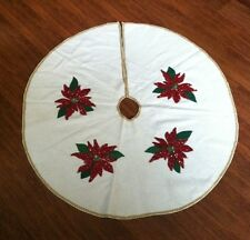Vintage HandMade Finished Felt & Sequins Merry Christmas Tree Skirt Ponsettia