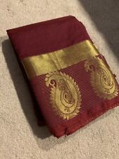 India MINI KANCHIPURAM Maroon Violet SILK SAREE with BLOUSE Fashion Gold Zari