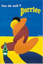 Original Vintage Poster Bernard Villemot Perrier Nudes Beach French 1980