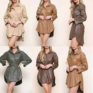 Ladies Leather Belted Shacket Women's Faux Leather Shirt Jacket Dress