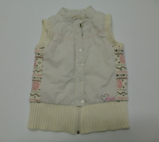 Roxy Youth Girls Size XL Ivory Sweater Weave Side & Bottom Vest Great Condition