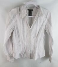 Kenneth Cole Womens Shirt 8 New York Pinstripe Long Sleeve Buttoned Collared