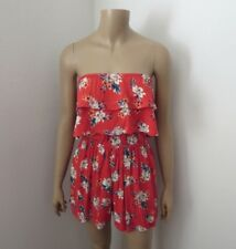 Hollister Womens Strapless Floral Romper Size Small Red