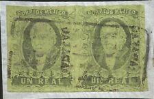 J) 1861 Mexico, Hidalgo, Un Real, Pair, Fragment Of Letter, Oaxaca District, Bla