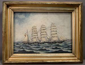 Antique NAUTICAL Old FRIGATE Masted SHIP Maritime FOLK ART SEASCAPE Oil PAINTING