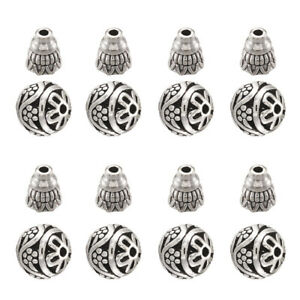 10 Sets Antique Silver T-Drilled Beads Round Beads Alloy Guru Beads DIY Crafts
