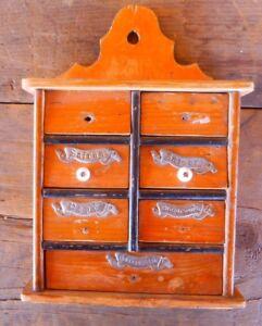 Spice Cabinet Farmhouse Rustic Primitive 7 drawer Wall Mount Vintage Antique