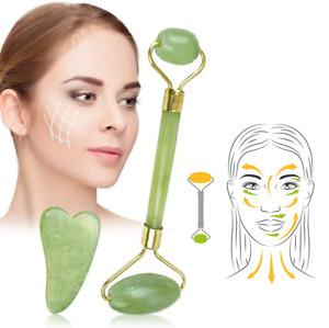 Natural Double Head Jade Roller Gua Sha Scraping Facial Massage Tools UK Stock
