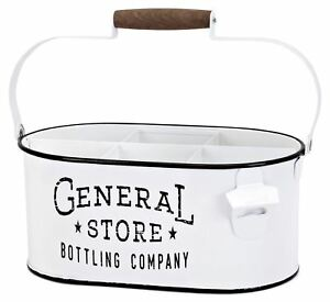 White General Store Divided Bottle Caddy w/ Opener Country Chic Farmhouse Decor