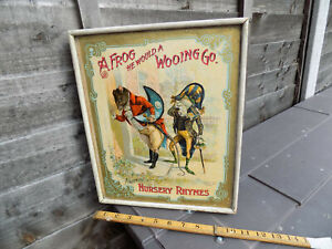 Superb McLoughlin Bros Frog goes a Wooing Nursery Rhyme Jigsaw Puzzle Game c1898
