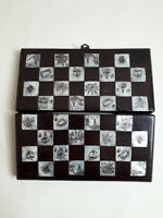 Stunning Wood/Mother Of Pearl Decorative Oriental Folding Chess Board