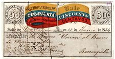 Colombia - 50c Insured Letter (Cubierta) - Cartagena - 1884 - Sc G7a - $ 125 Rr