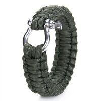 Überleben Armband mit rostfrei Stahl Bogen Schaekel - olive düster grün GY