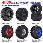 4 x 12mm Nabenräder Reifen 1:10 Off Road RC Car Monster Truck Reifen