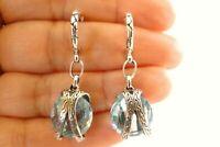 Round Blue Topaz Nugget Hoop 925 Sterling Silver Dangle Drop Stud Earrings