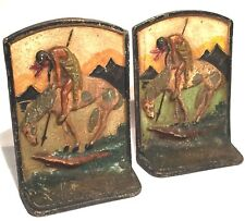 END OF THE TRAIL HAND PAINTED VINTAGE METAL REPOUSSE BOOK ENDS NATIVE TRIBAL