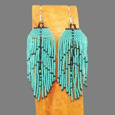 "3"" LONG Handmade Turquoise Chandelier Boho Style Dangle Seed Bead Earring"