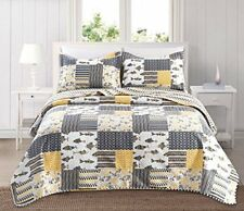 Coastal Ocean QUILT SHAM SET FULL QUEEN BEDDING Yellow Gray Fish Coral Patchwork