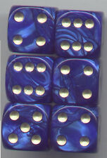 NEW Dice Set of 6 D6 (16mm) - Pearl Blue w/Gold inking