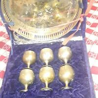 Antique Vintage Silver Plated Serving Tray and 6 Matching Small Goblets