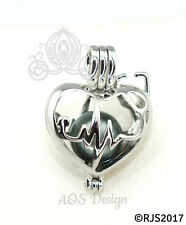 Heartbeat Stethoscope Pearl Cage Pendant Nurse Doctor Medical Locket CHARM ONLY