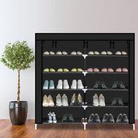 Portable Shoe  Rack Closet  Fabric  Cover Shoe Storage Organizer Cabinet Black