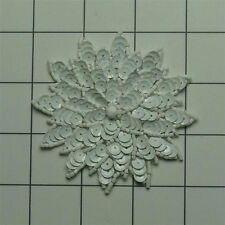 CHALK WHITE  SEQUIN BEADED FLOWER APPLIQUE  2696-A