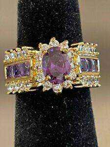 Estate Find Lovely Oval Amethyst/CZ..18k GP Ladies Ring Size 7
