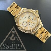 Guess Women Gold Tone Mother of Pearl Dial Crystal Chronograph Watch U0632L2 NWT