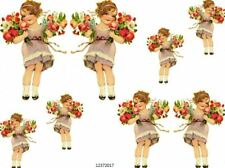 VinTaGe IMaGe ReTrO LiTTLe GiRL BouQueTs SHaBbY WaTerSLiDe DeCALs
