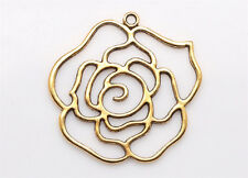 2/20PC Tibetan silver Craft Jewelry BIG Gold Rose Flowers Making Charms Pendants
