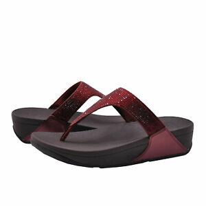 Women's Shoes FitFlop LULU CRYSTAL Embellished Sandals EJ8-894 OXBLOOD RED