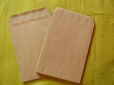 250 Enveloppes-pochettes C4 229x324mm, kraft brun, sans fenêtre, auto-adhésives