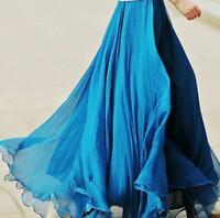 Chic Womens Chiffon Pleated Double Layer Maxi Dress Long Summer Beach Skirt Gown