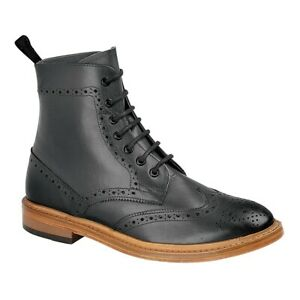 ANKLE BROGUES BOOTS FULL LEATHER 7 EYE LACE UP BOOTS