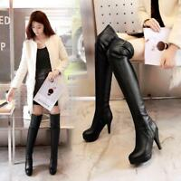 Women's Thigh Sexy Long Boots Platform High Heels Over the Knee PU LeatherBoots