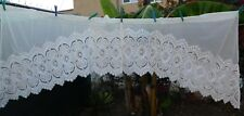 "White Embroidered Sheer Valance Swag Up to 86"" Set of Two Vintage Style"