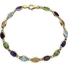 14K yellow multi-gemstone 7.5in bracelet