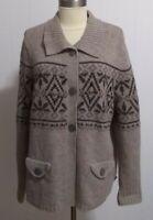 WOOLRICH women's  size XL Lambs Wool cardigan Sweater beaded design taupe EUC
