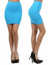 Sexy Seamless TURQUOISE Stretchy Textured Short Bodycon Pencil Bandage Skirt
