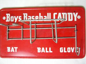 1950's BOYS BASEBALL CADDY Holds 2 Balls a Bat & a Glove Wall Mount METAL SIGN