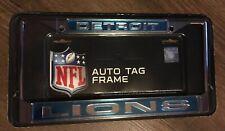 NFL DETROIT LIONS Chrome Auto Tag Frame License RICO Industries Silver On Blue