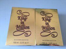 2 X KING IN MILLION Eau De Toilette Spray Aftershave For Men 100ml.