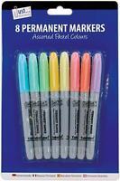 8 X Permanente Marcatori Penne Colori Pastello Ogni Superficie Scuola Lavoro -