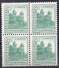 España 1936. Cadiz 5 cts bloque de 4 MNH. **.
